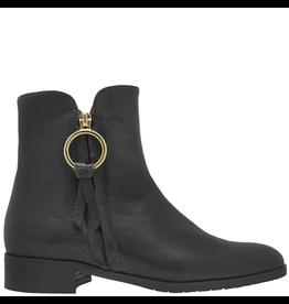 ModadiFausto ModadiFausto Black Grain Leather Outside Zipper W/Gold Ring 6363