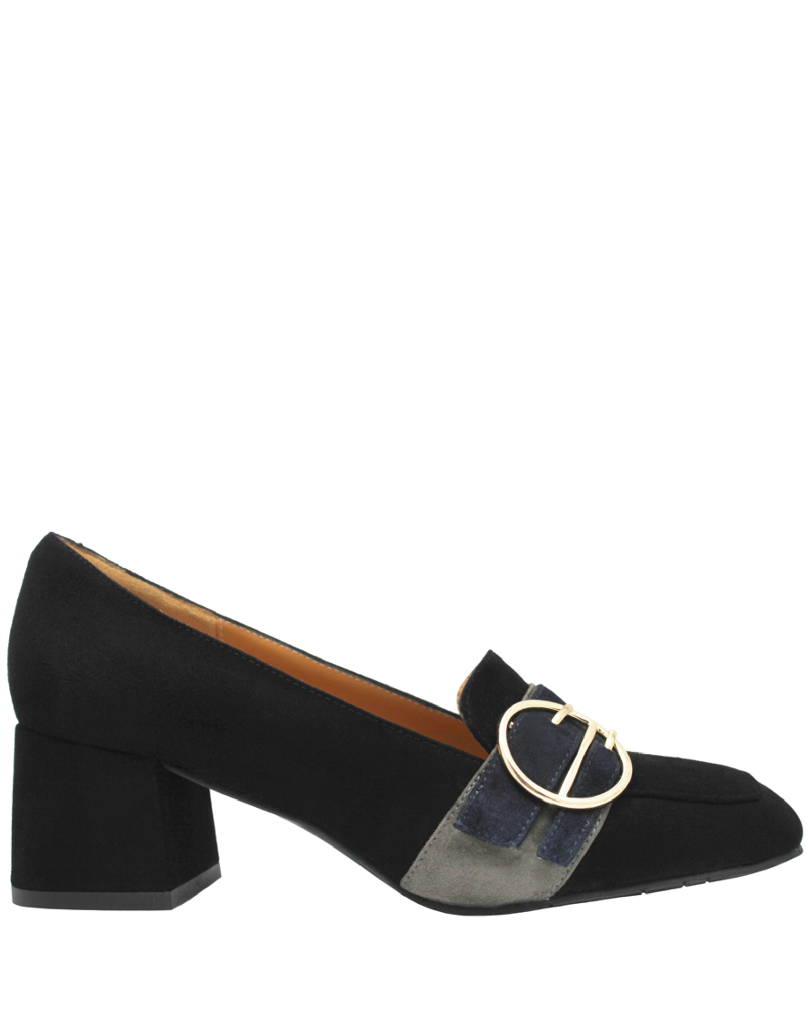 ModadiFausto ModadiFausto BlackSuede Medium Heel Loafer W/ Round Buckle 6354