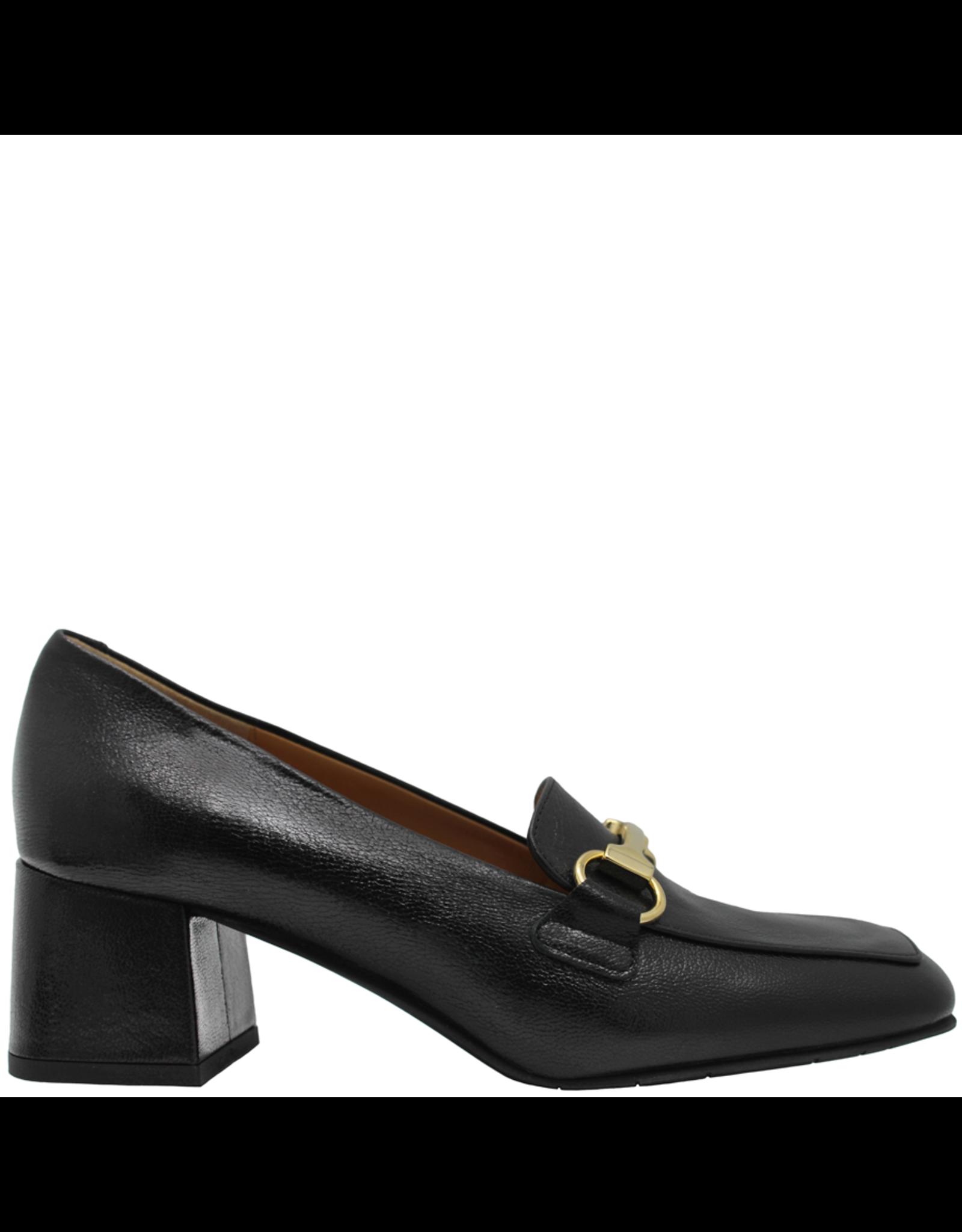 ModadiFausto ModadiFausto Black Square Toe Medium Heel Loafer 6342