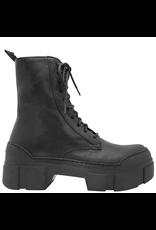 VicMatie VicMatie Black Calfskin Combat Boot With Rubber Sole 5102