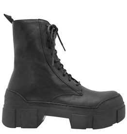 VicMatie VicMatie Black Calfskin Combat Boot With Rubber Sole 5102