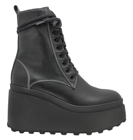 VicMatie VicMatie Black Lace-Up Combat Boot With Wedge Sole 5392