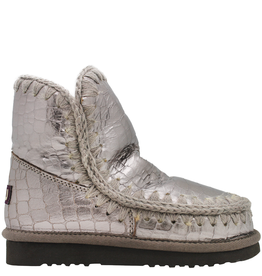 Mou Mou Taupe Metal Croco W/Crochet Wool Seems Sheepskin lining Arya