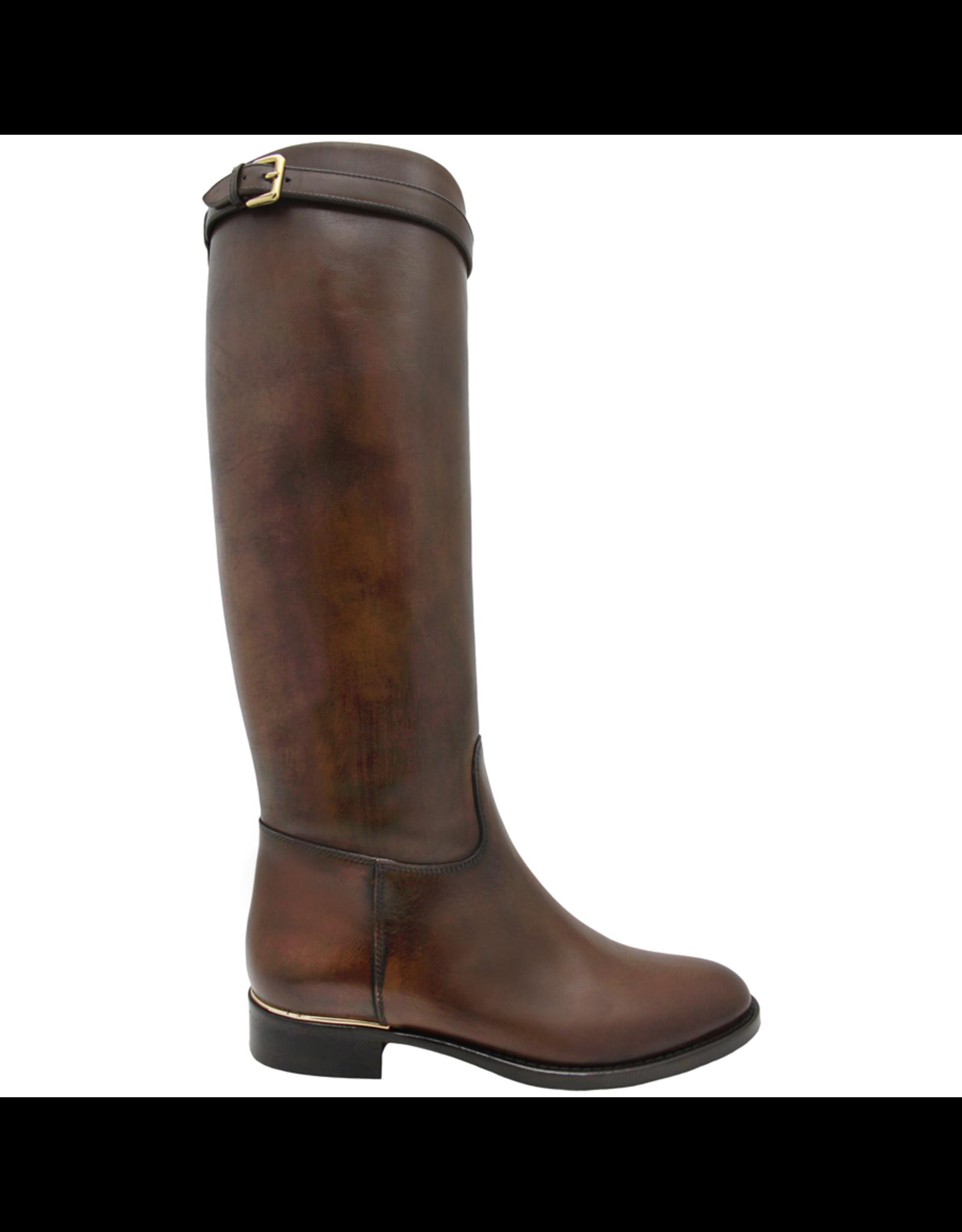 Eclat Eclat Cognac Riding Boot With Buckle Detail+ Side Zipper 1000