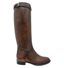 Eclat Eclat Cognac Riding Boot With Buckle Detail+ Side Zipper 1000