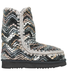 Mou Mou Missoni Like Boho Knit Grey Black Multi W/Shearling Lining Mira