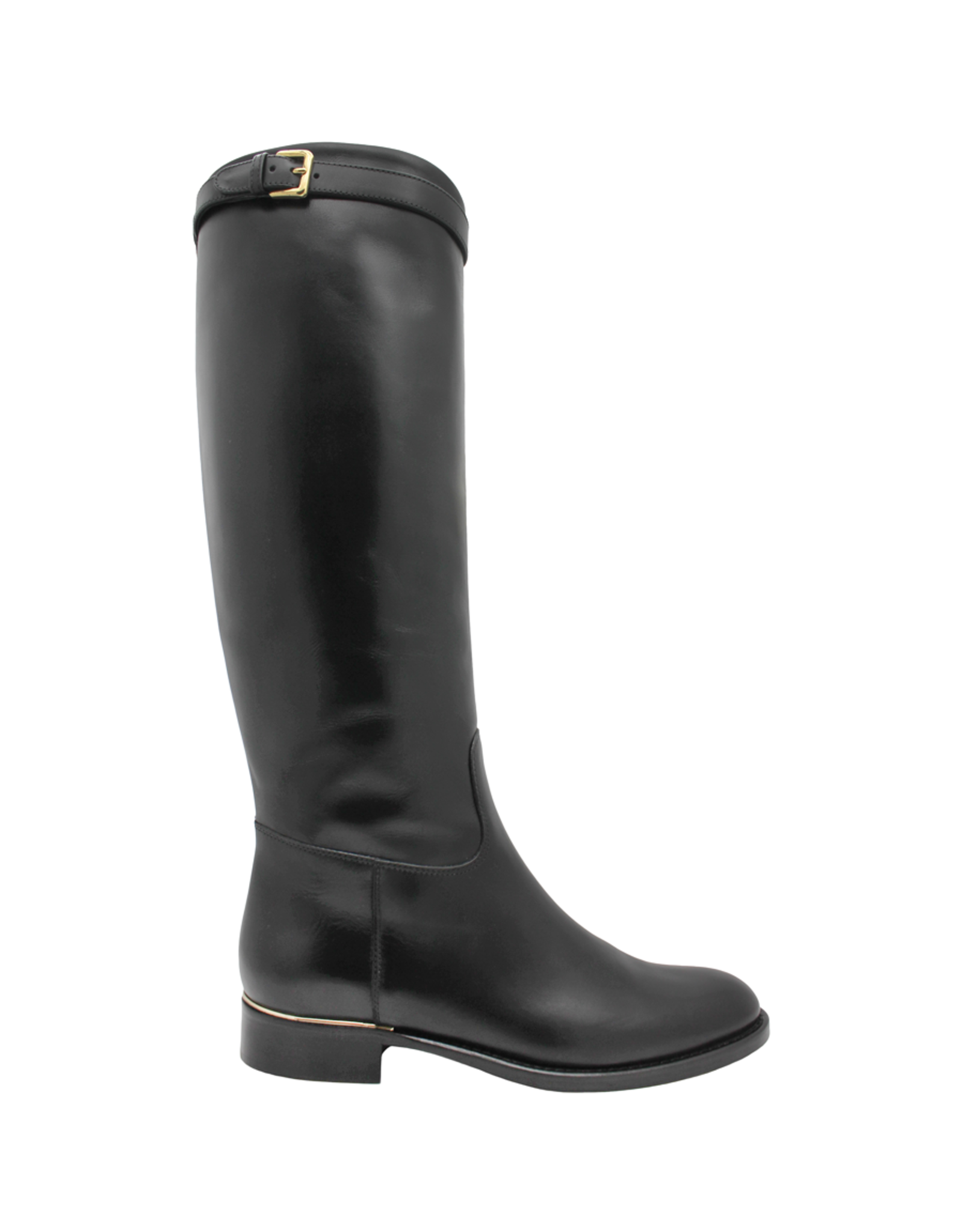 Eclat Eclat Black Calf Riding Boot With Buckle Detail+Side Zipper 1000