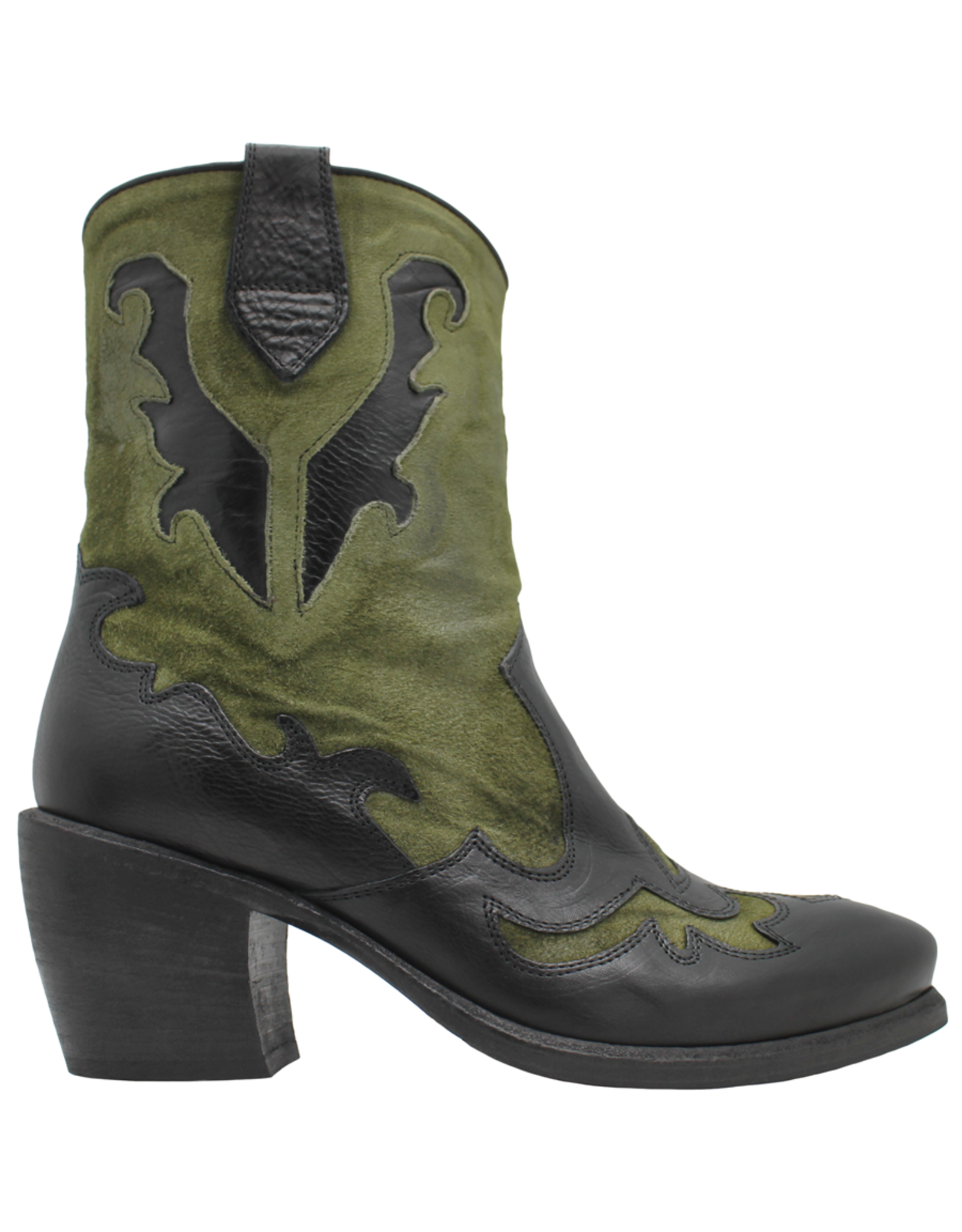 Now Now Black With Green Suede Cowboy Ankle Boot 6015