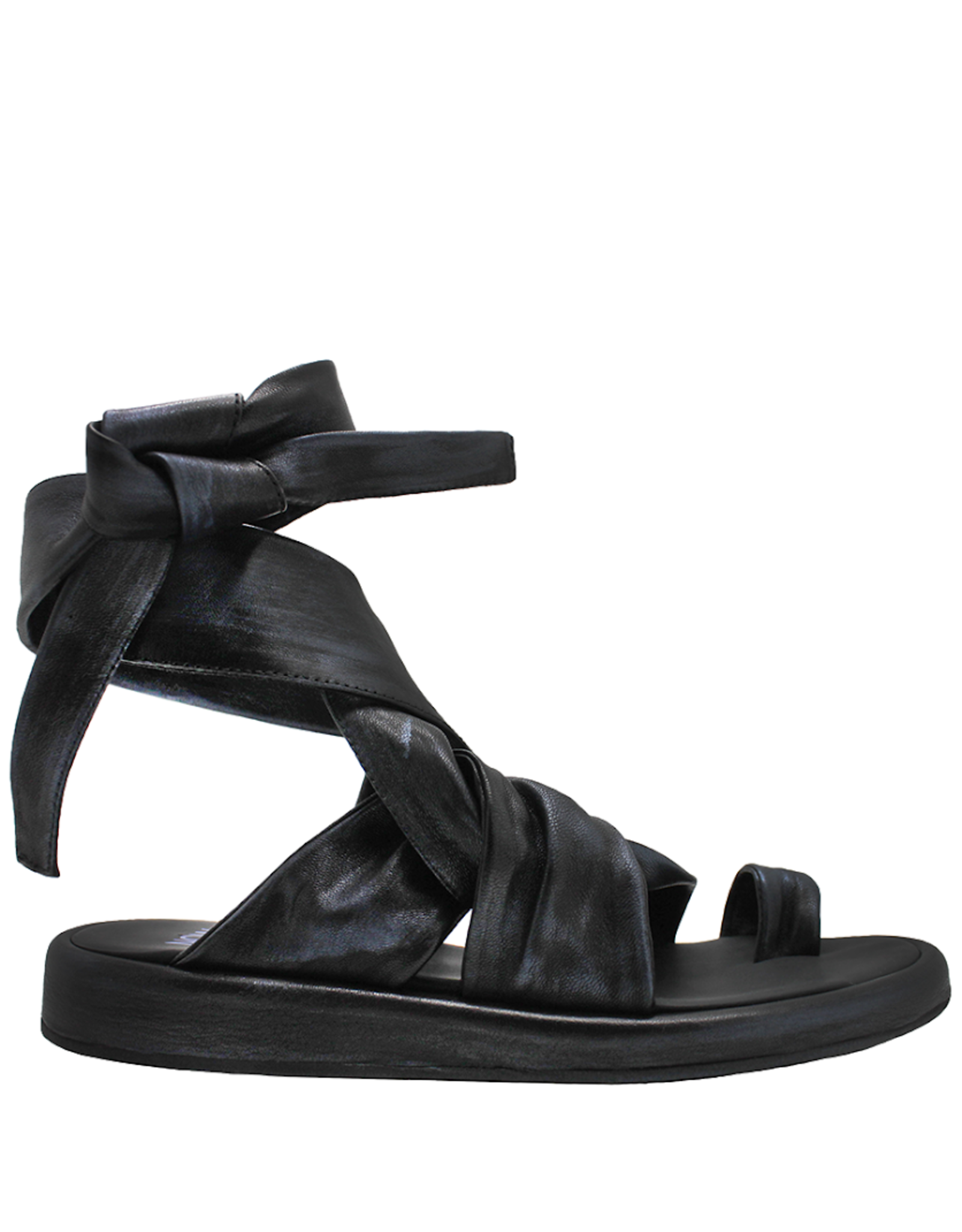 Now Now Black/Blue Asym Ankle Tie Toe Ring Sandal-6091