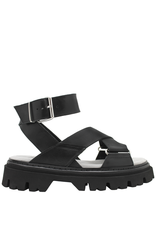 Now Now Black Buckle Ankle Strap Tread Sole Sandal-6757