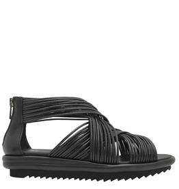 Now Now Black Criss Cross Multi Strap Sandal-6825
