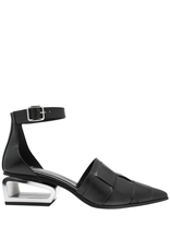 Now Now Black Ankle Strap Sandal With Metal Heel-6970
