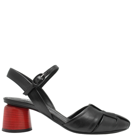 Halmanera Black Woven Mary Jane With Red Heel-2031
