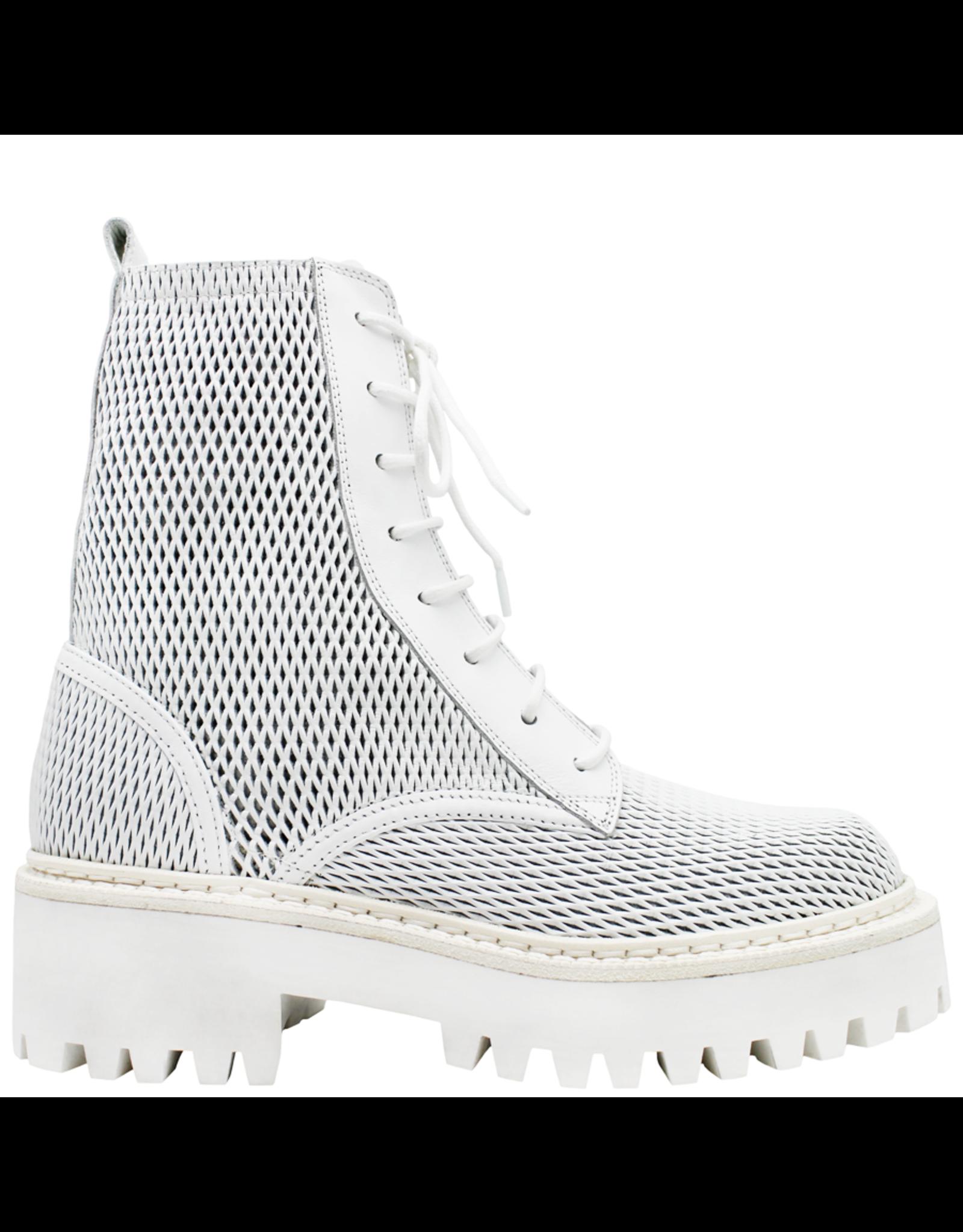 VicMatie VicMatie- White Perforated Calf Skin Combat Boot 5602