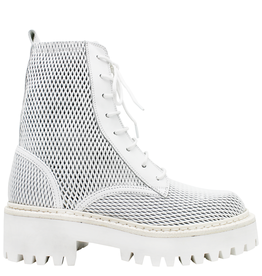 VicMatie VicMatie- White Perforated Calf Skin Combat Boot 5602