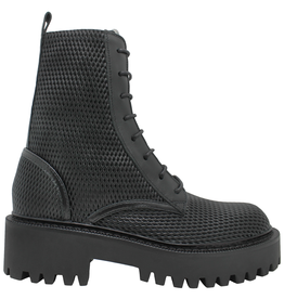 VicMatie VicMatie- Black Perforated Calf Skin Combat Boot 5602