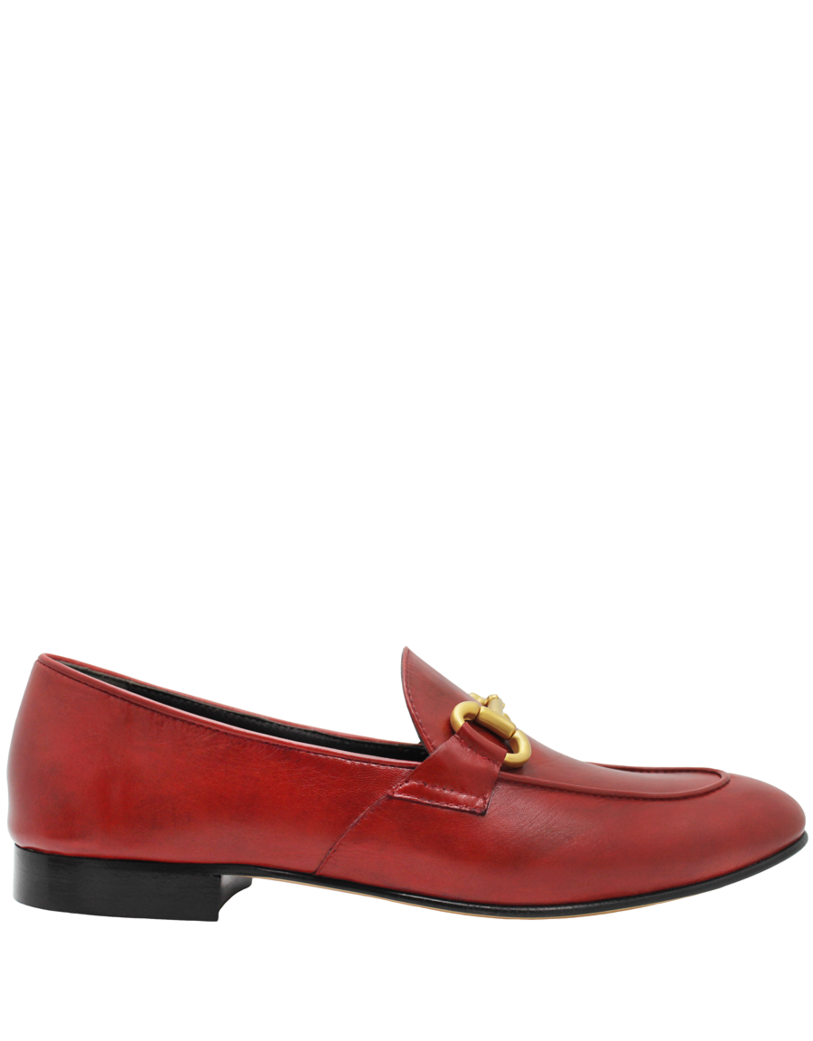 MaraBini MaraBini Red Loafer With Gold Bit 8125