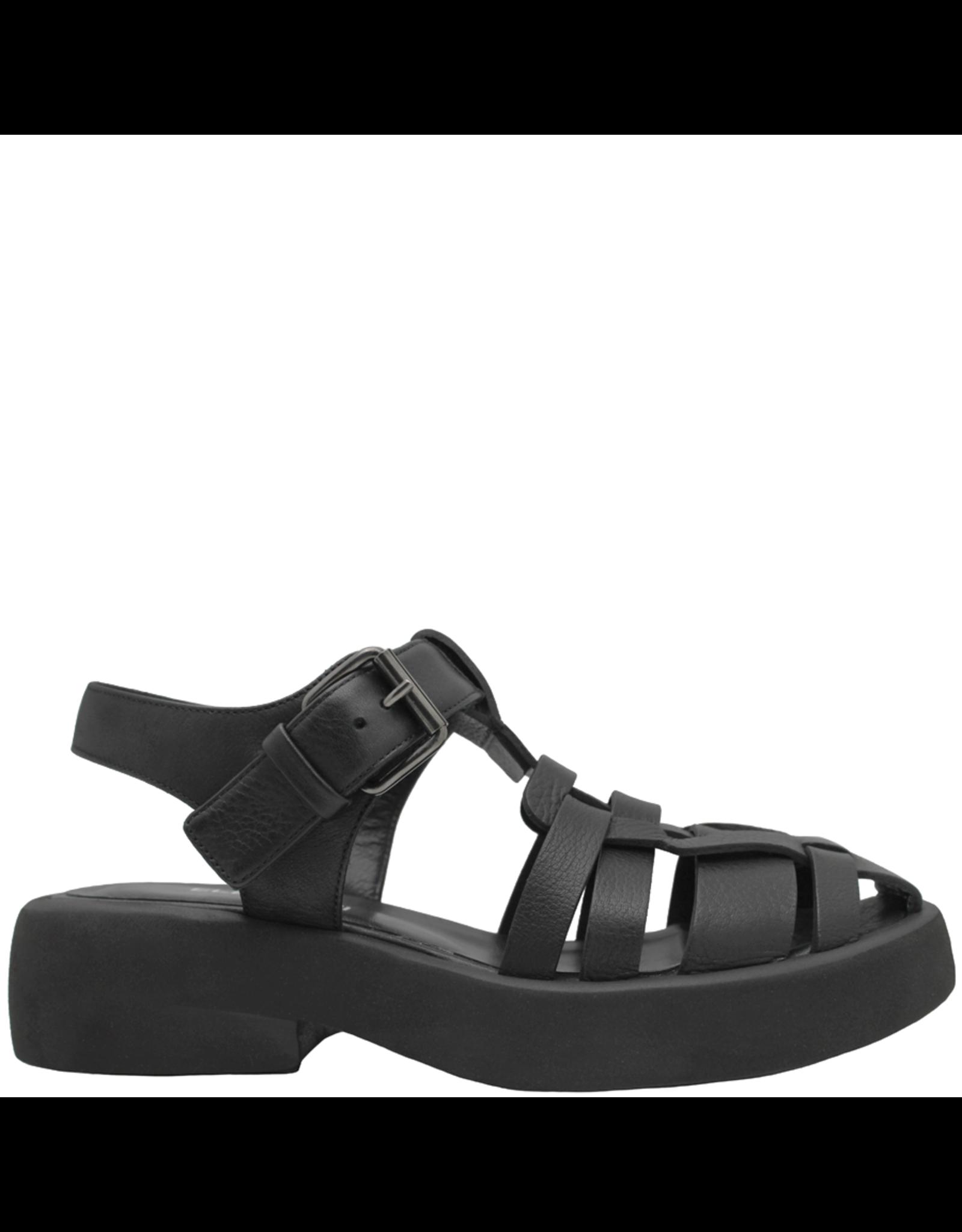 Elena Iachi ElenaIachi-Black Closed Toe Sling Flatform Sandal 2815
