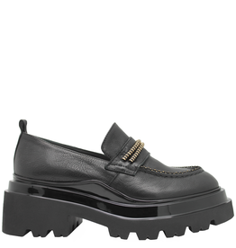 Now Now Black Loafer with Gold Accessories 7120