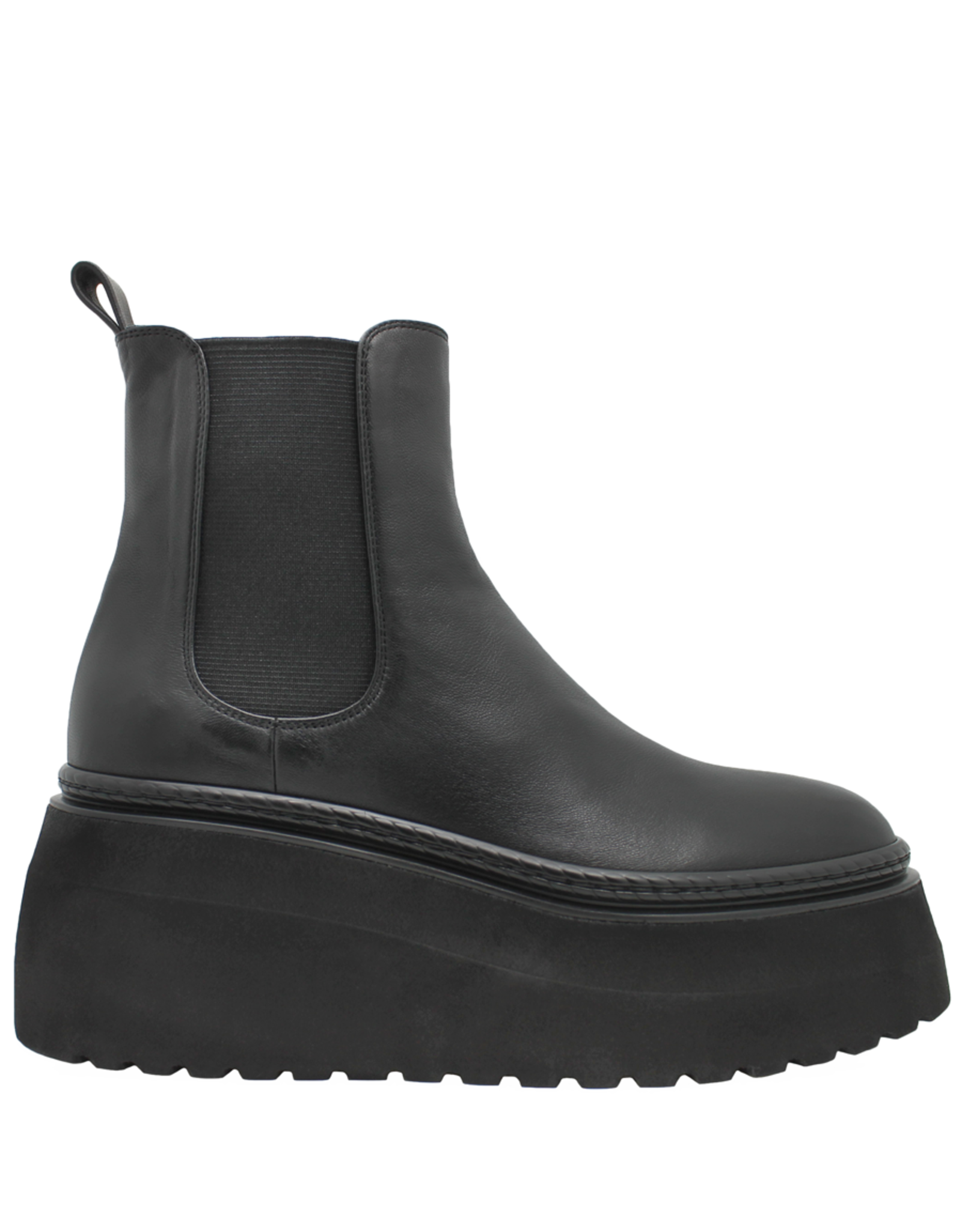 Now Now Black Leather Chelsea Wedge 7288
