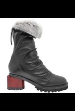 Halmanera Halmanera H40G Black Ruched Boot With Fur 2058