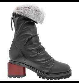 Halmanera Halmanera Black Ruched Boot w/Fur 2058