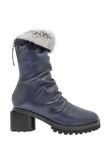 Halmanera Halmanera Blue Ruched Boot w/Fur 2058