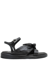 Now Now Black/Blue Ankle Strap Flat Sandal With Knot Detail-6792