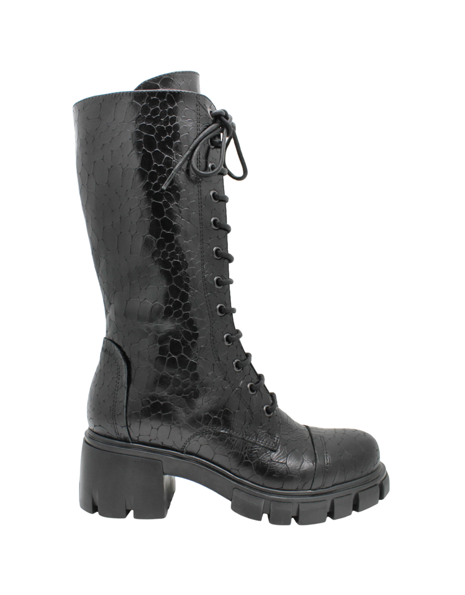Now Now Black Croc Lace-Up Mid-Calf 7055
