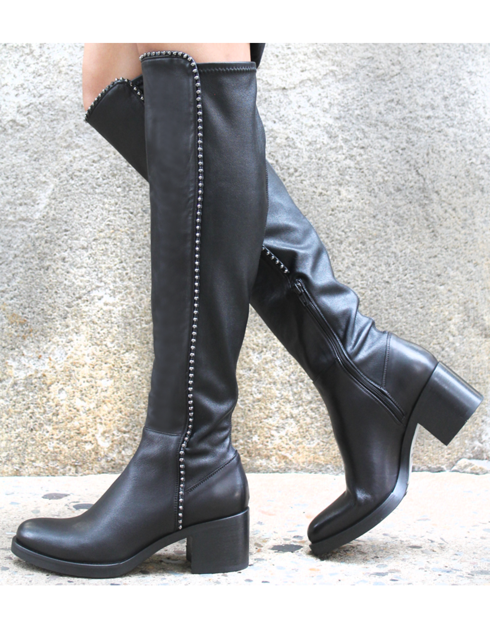 Now Now N36A Black Knee Boot w/Studs 7140