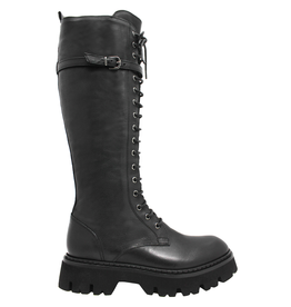 Now Now Black Lace-Up Knee Boot 7072