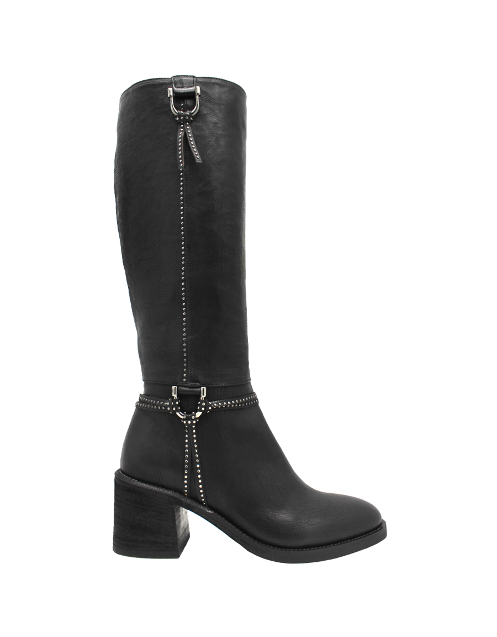 Now Now Black Knee Boot w/Harness 7157