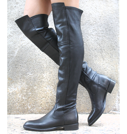 Now Now Black Nappa Stretch Over The Knee Boot 7175