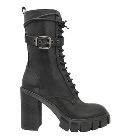 Now Now Black with Buckle Lace-Up 7354