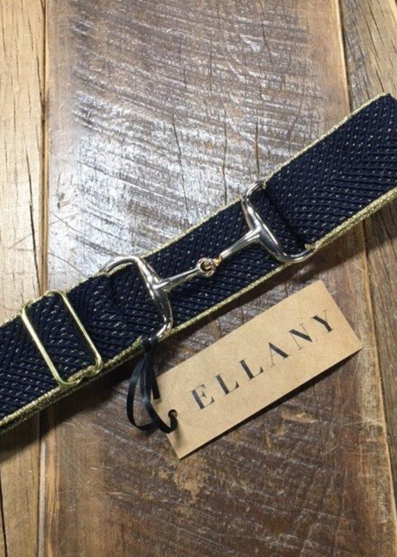 "Ellany Equestrian Ellany 1.5"" Silver Snaffle Elastic Belt Navy and Gold Arrows"