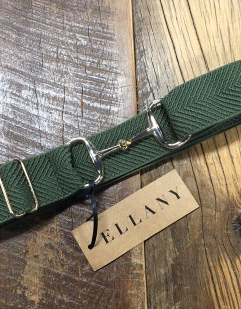 "Ellany Equestrian Ellany 1.5""  Gold Snaffle Elastic Belt Olive Arrows"