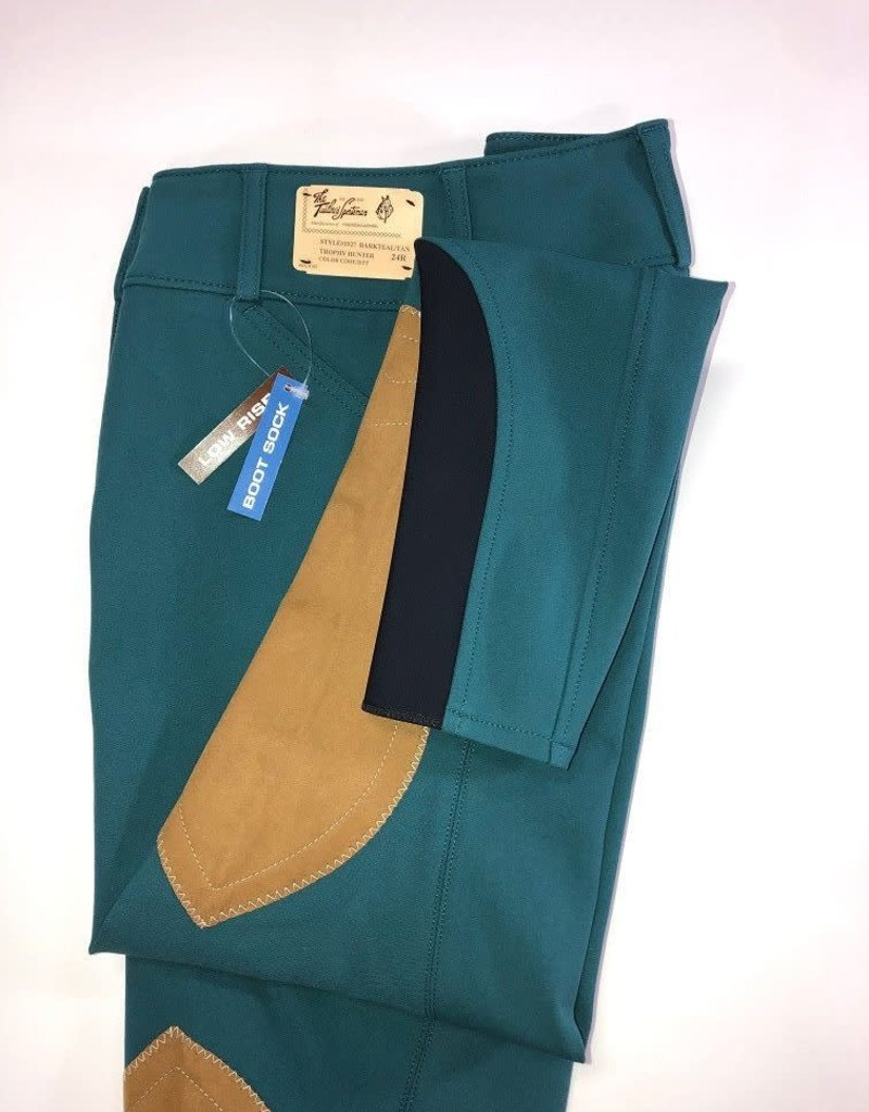 The Tailored Sportsman The Tailored Sportsman Women's Lowrise Bootsock Breeches Dark Teal Front Zip  28R