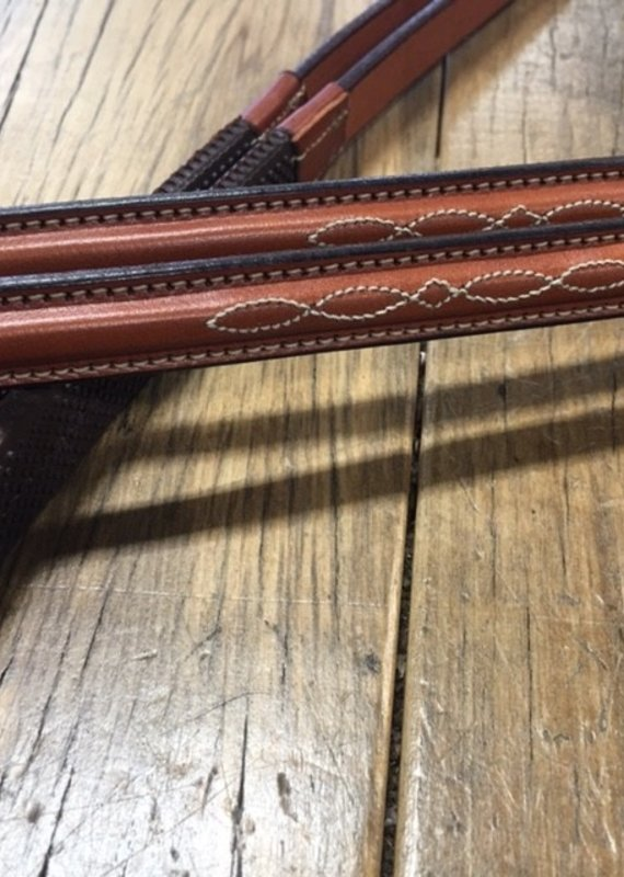 "Edgewood Edgewood Fancy-Stitch Raised Brown Rubber Reins 5/8"""