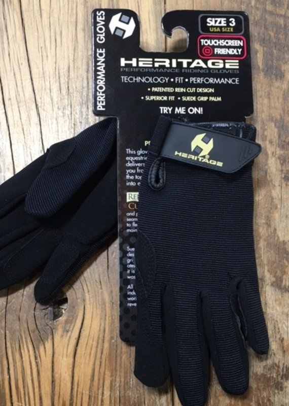 Heritage Gloves Heritage Youth Performance Black Gloves