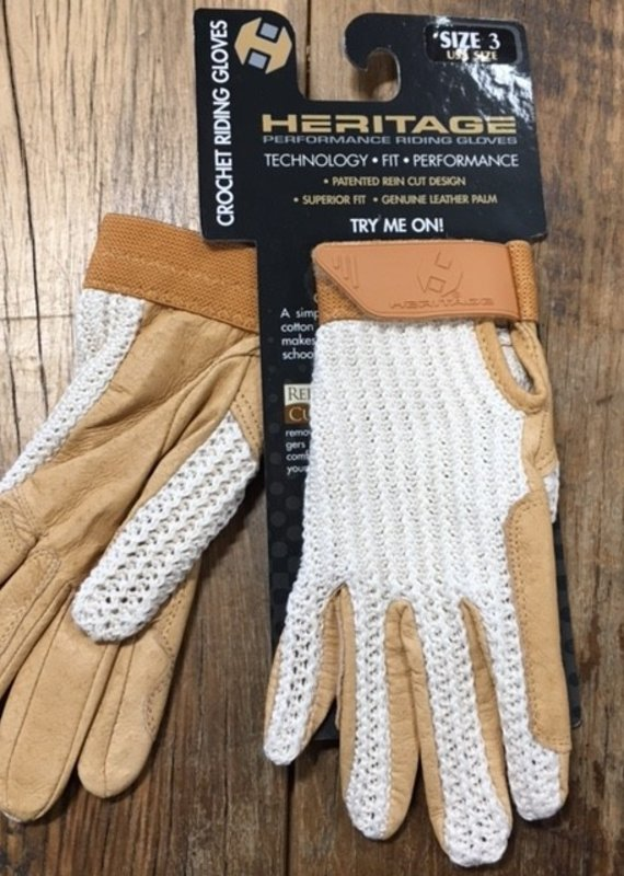 Heritage Gloves Heritage Youth Crochet Tan Riding Gloves
