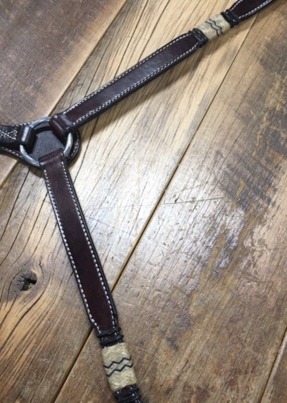 """Weaver Leather Weaver Turquoise Cross 1"""" Breastcollar with Rawhide"""