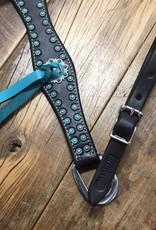 "Martin  Saddlery Martin Saddlery  Scalloped Chocolate Antique Turquoise Dots 1 1/2"" Breastcollar"