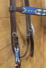 Cashel Cashel Headstall Beaded Blue and Green with Browband