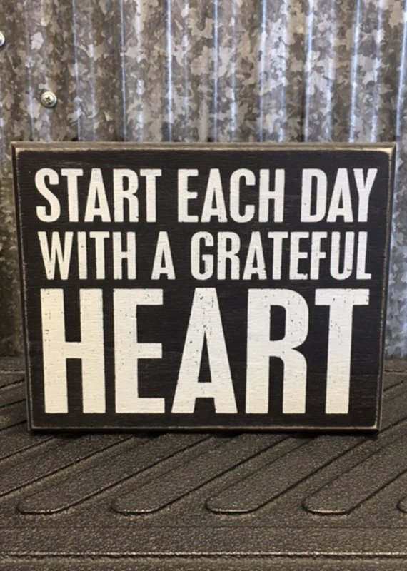 Primitives By Kathy Box Sign 'Grateful Heart'