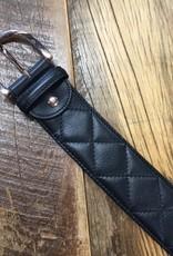 The Tailored Sportsman The Tailored Sportsman Quilted C Belt Black with Rose Gold Buckle