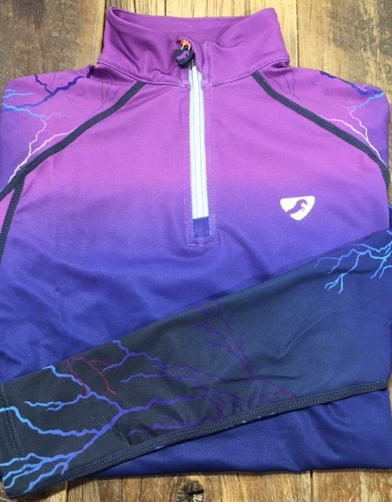 Shires Aubrion Girls Hyde Park Cross Country Shirt Purple Lightning