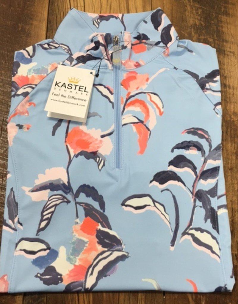 Kastel Kastel Ladies Cap Sleeve Sun Shirt Blue Watercolor Floral