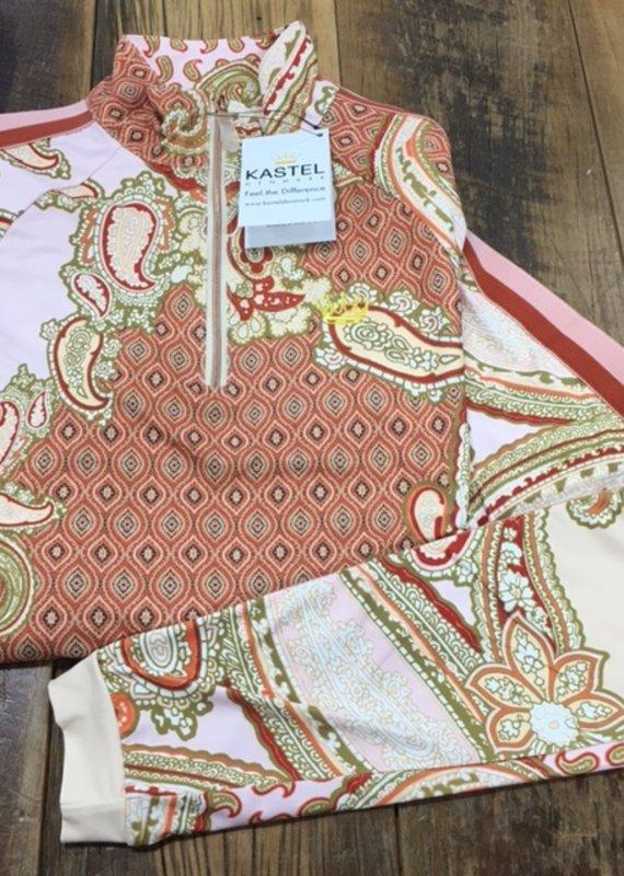 Kastel Kastel Ladies Long Sleeve 1/4 Zip Sun Shirt Paisley with Stripe Trim