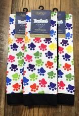 Ovation Ovation Footzees Boot Socks Rainbow Puppy Prints