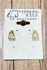 The Finishing Touch Of Kentucky Gold Mini Stirrup with Rhinestone Earrings